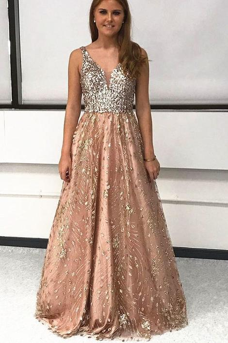 A-Line Gold Tulle Long Prom Dress with Sequins,DR0117