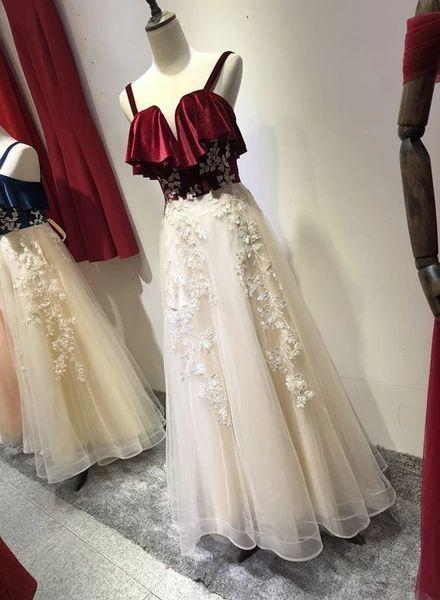 Charming Straps Tulle Velvet and Tulle Party Dress, Handmade Formal Gown Prom Dress 2021,DR0121