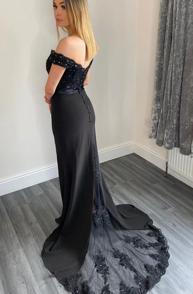 BLACK SWEETHEART OFF SHOULDER LACE LONG PROM DRESS BLACK BRIDESMAID DRESS,DR0131