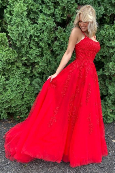 Red Straps Long Prom Dress with Lace Appliques,DR0178