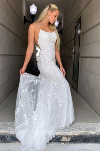 Mermaid White Prom Dress with Appliques,DR0179