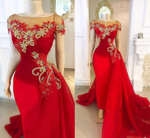 red detachable skirt prom dresses cap sleeve lace applique beaded elegant luxury prom gown,DR0186