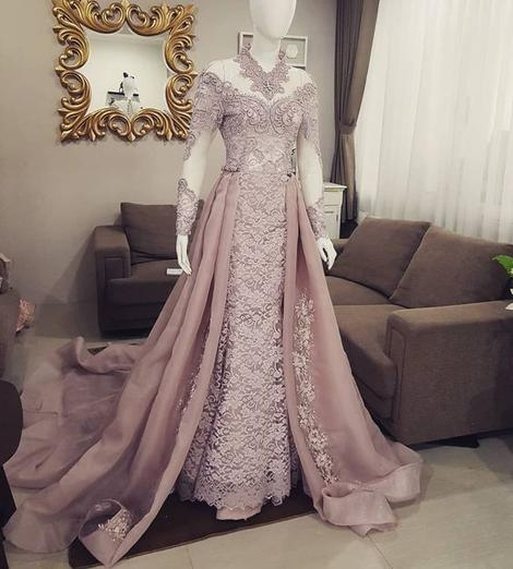 dusty pink lace applique prom dresses long high neck vintage modest prom gown,DR0188