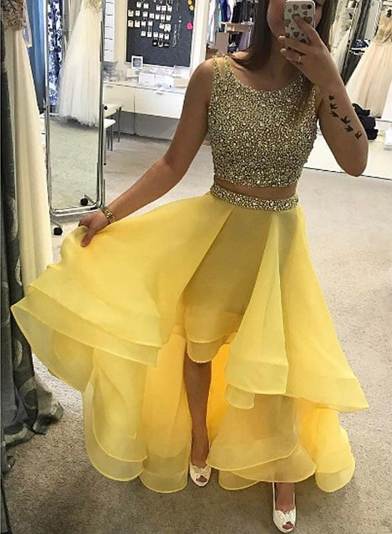 Charming A-Line Two-Piece High Low Yellow Prom Dress, Beading Organza Prom Gowns,DR0202