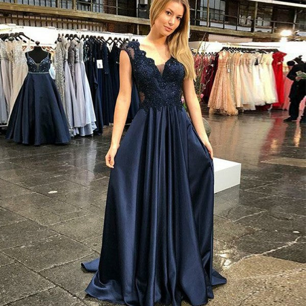 Elegant Navy Blue Satin Long Prom Dress,DR0235