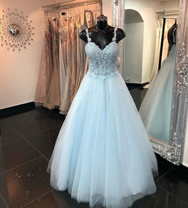 Gorgeous Light Blue Long Prom Dress Ball Gown,DR0238