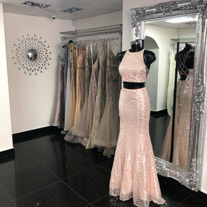 Two Piece Peach Sequins Evening Dress,DR0241