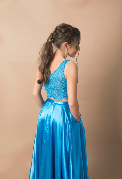 Two Piece Blue One Shoulder Prom Dress,DR0249