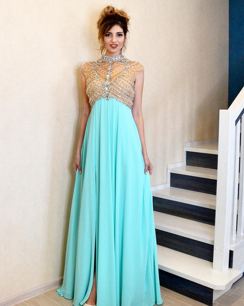 Luxurious High Neck Beaded Blue Long Formal Dress,DR0253