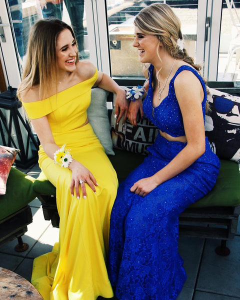 Off the Shoulder Two Piece Yellow Prom Dress,DR0254