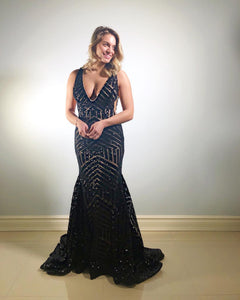 Elegant Mermaid Black Sequins Evening Dress,DR0255