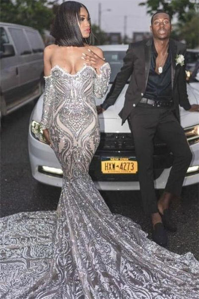 Black Girl Prom Dress Sexy Off The Shoulder Silver Prom Dresses Cheap Long Sleeve Sparkle Lace Mermaid Graduation Dresses,DR0267