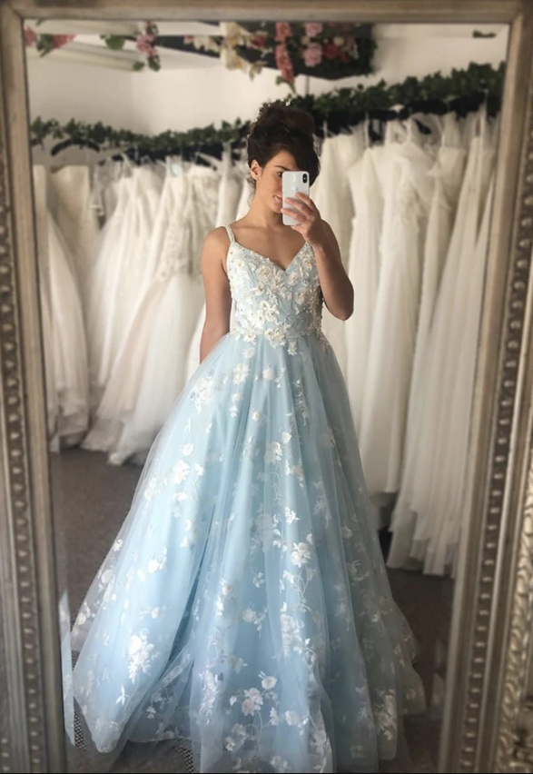Blue tulle lace long ball gown dress evening dress,DR0291