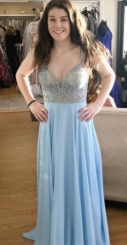 A Line Light Blue Chiffon Beaded Spaghetti Straps Long Prom Dresses Formal Evening Dress,DR0354