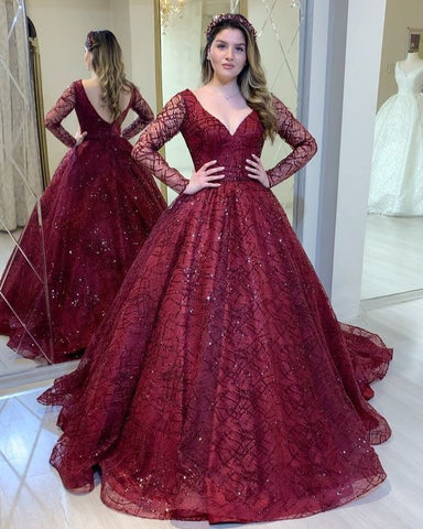 Burgundy prom dresses , long sleeves sparkly prom dress,DR0395