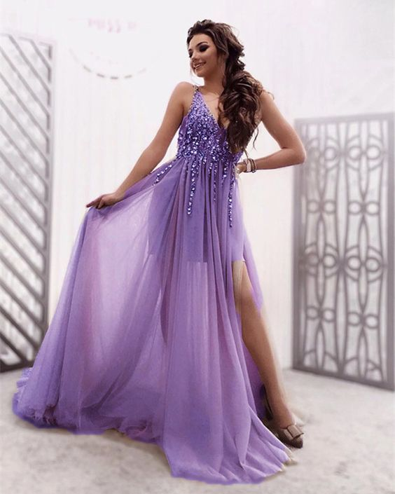 Tulle V Neck Split Prom Dresses 2021 With Sequins Beaded,DR0401