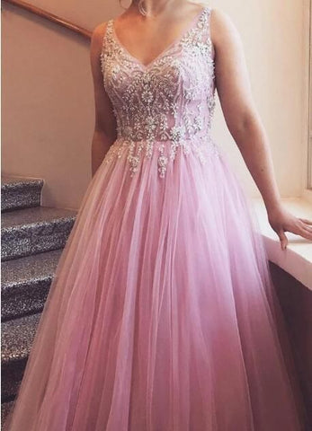 Gorgeous V Neck Prom Dress with Beading Tull Ball Gown,DR0403