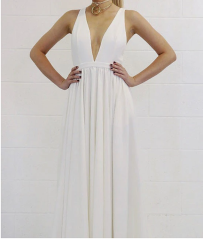 White v neck backless long prom dress, white evening dress,DR0424