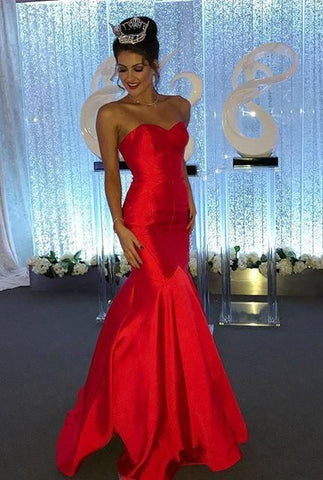 2020 Gorgeous Red Sexy Sweetheart Mermaid/Trumpet Satin Prom Dresses,DR0475
