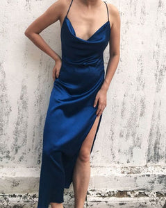 Dark Blue Backless Slip Prom Dress,DR0478