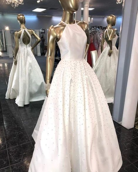 Halter Long Prom Dress With Pearls,Gorgeous Evening Dress White,DR0480