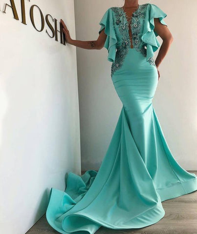 Turquoise Blue Evening Dress, Mermaid Evening Dress, Evening Gown, Luxury Evening Dress,DR0481