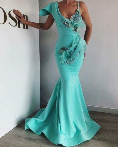 Turquoise Blue Evening Dress, Mermaid Evening Dress, Evening Gown,DR0483