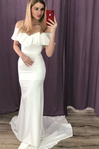 Charming Off Shoulder Mermaid Prom Dress, White Long Evening Dress,DR0496