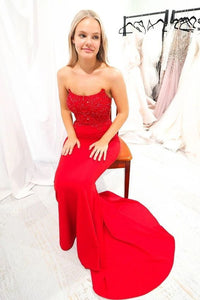 red strapless mermaid evening dress with train, wedding guest dress wedding reception dress,DR0498