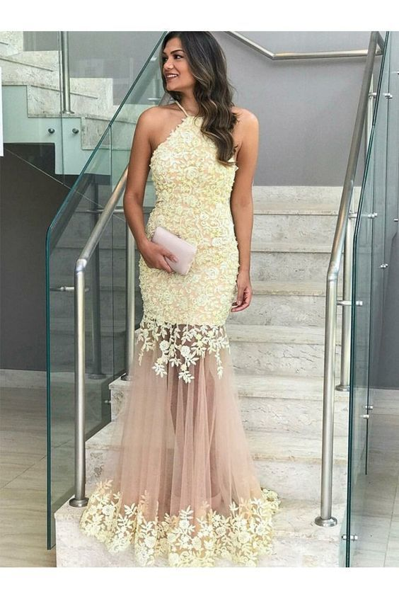 Mermaid Lace Long Prom Dresses Formal Evening Gowns ,DR0503