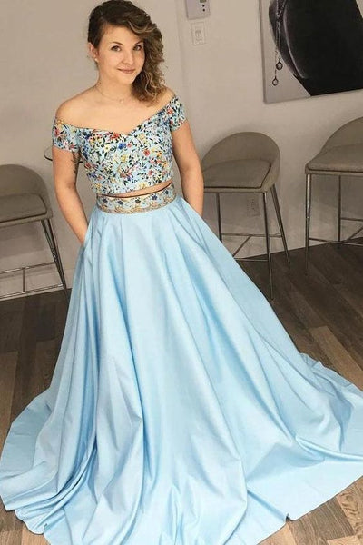 Charming Off the Shoulder Two Piece Prom Dress with Floral Embroidery, Blue Evening Dress,DR0525