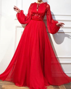 Elegant Round Neck Tie With High Waist Solid Color Applique Long Puff Sleeve Maxi Dress,DR0528