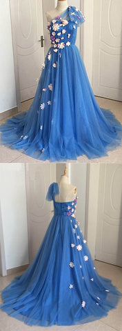 One Shoulder Prom Dresses A-line Long Hand-Made Flower Long Prom Dress Fashion Evening Dress,DR0531