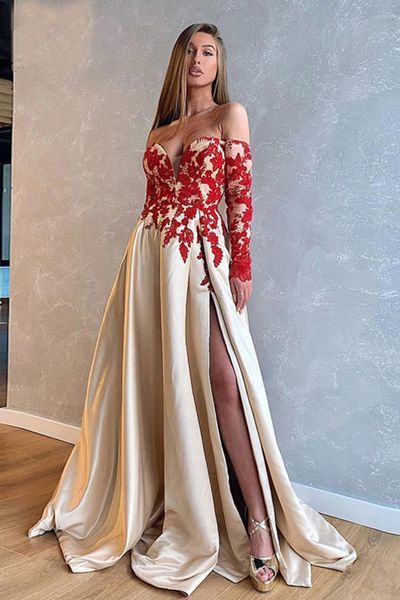 Sexy Slit Red Evening Dress Long Sleeve Formal Dress,DR0532