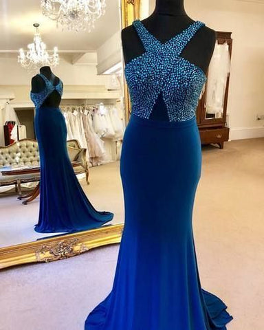 New Arrival Beading Royal Blue Mermaid Evening Gown, Formal Long Prom Dresses, Women Dress,DR0535