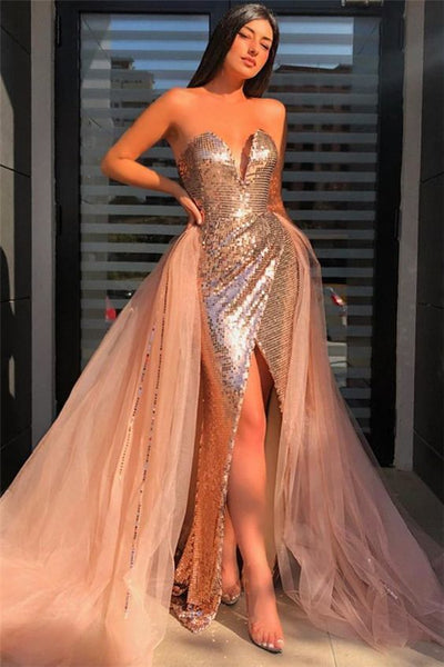Sequined Strapless V-neck Front Slit Prom Dresses with Detachable Train, Sequins Prom Dresses ,DR0548
