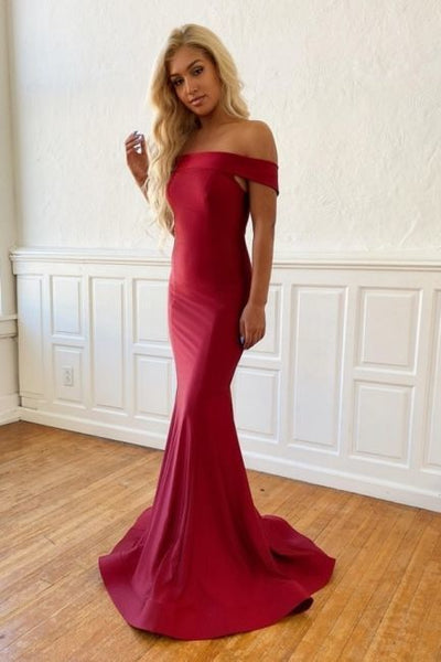 Classic Burgundy Off Shoulder Fitted Prom Dress,DR0555