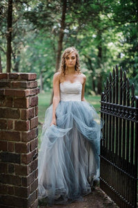 Chic Ball Gown Wedding Dress Long Strapless Lace Tulle Country Wedding Dress,DR0561