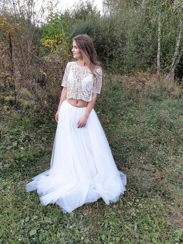 lace crop top with short sleeves prom dress,DR0583