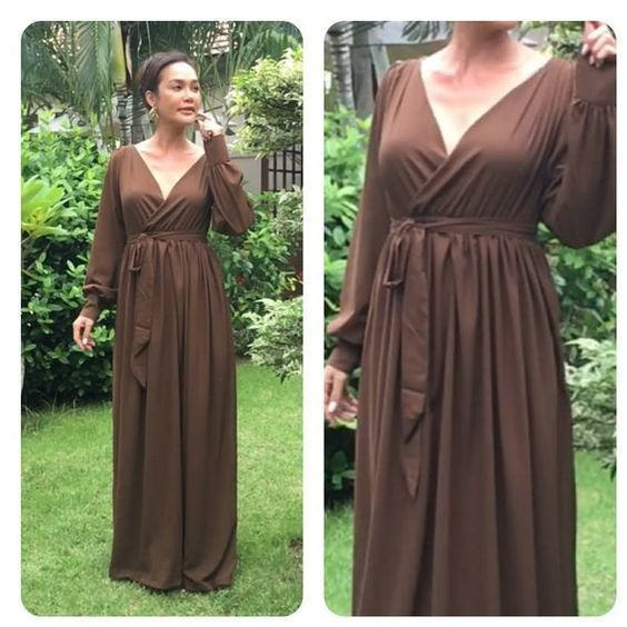 Brown dress chiffon long sleeve v neck long prom dress,DR0589