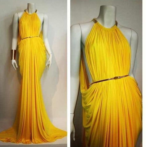 Yellow Long Prom Dress , Uinque Prom Dress,DR0604