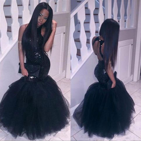 Mermaid Black Prom Dresses with Sequins,DR0713