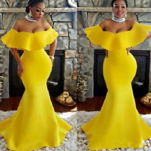 Mermaid Yellow Prom Dresses for women,DR0714