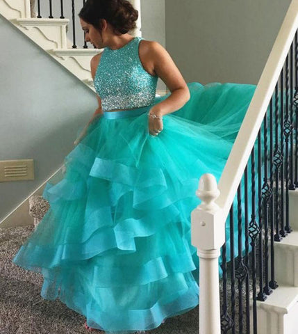 Sexy Two Piece Mint Green Organza Prom Dresses with Beaded,DR0716