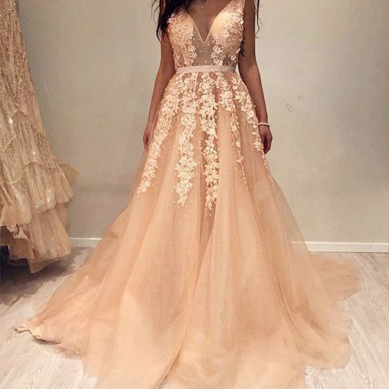 V Neck V Back Prom Dresses with Appliques for Women,DR0718