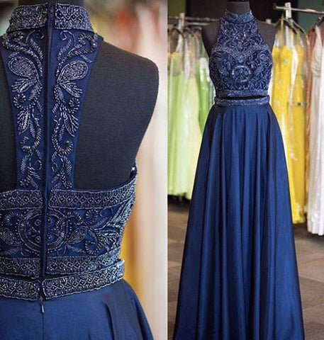 Two Piece Prom Dresses with Beaded,DR0720