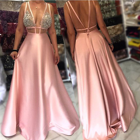 Deep V Neck Long Prom Dress for Women,DR0722