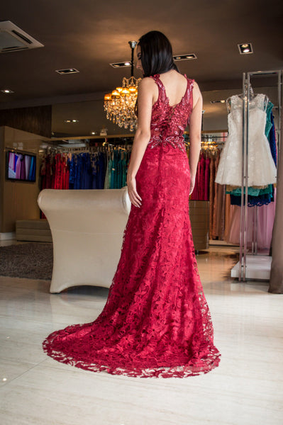 Dark Red Lace Mermaid Prom Dress with Lace UP,DR0724