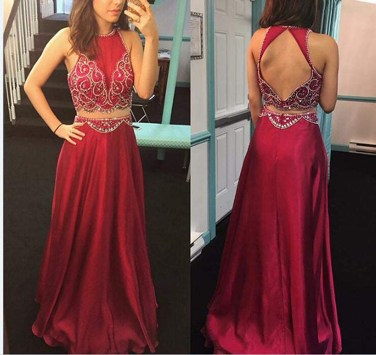 Two Piece Open Back Homecoming Dresses with Rhinestone,DR0725