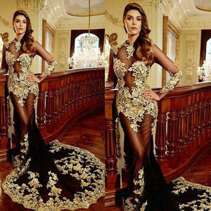 Black and Gold Evening Dress, Mermaid Evening Dress, High Neck Evening Dress, Lace Applique Evening Dress,DR0726